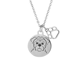 Pug Dog Charm Necklace, Stainless Steel Pug Necklace, Pug Jewelry, Pug Gift