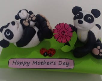 "Handmade polymer clay figures ""Happy mother's day"""