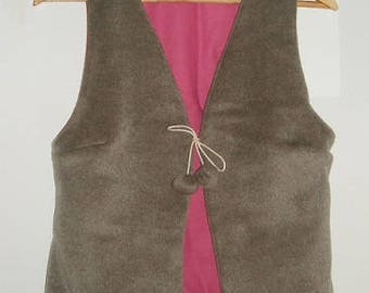 Brown short fur - lining vest
