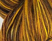 Ready to ship, 100g, snow dyed yarn, hand dyed yarn, yellow/brown variegated sock/fingering weight yarn, superwash merino:nylon yarn
