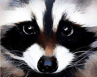 Here's looking at you - acrylic on canvas painting - racoon