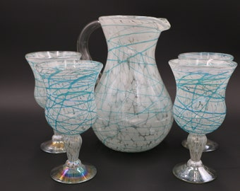 Artisan Hand Blown Glass Pitcher Set by Golden Octopus w/ 4 Goblets (White w/ Aqua Drizzle) 84oz Made from Recycled Glass