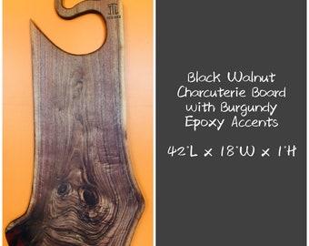 Black Walnut Charcuterie Board with Burgundy Epoxy Accents