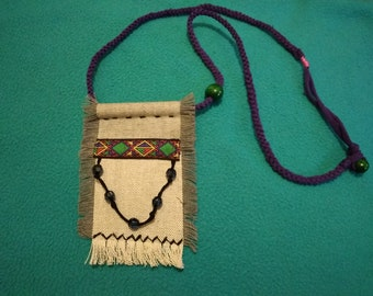 Unique handmade necklace boho style casual with fringe and beads