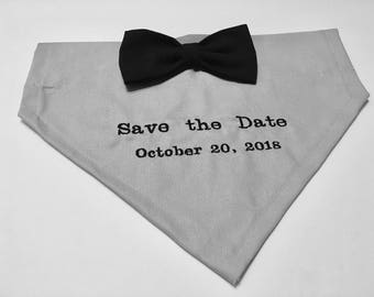 Dog Bandana, Save the Date, Wedding Announcement, Over the Collar, Bow, Engagement dog bandana, gift for dog lover, dog gift, photo bandana