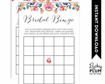 Fiesta Bridal Bingo / Fiesta Bridal Shower Games / Mexican Bridal Bingo / Mexican Bridal Shower Games / Digital Printable FT02
