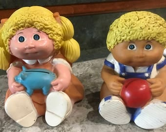 1983 Cabbage Patch Doll Banks 1 Boy and 1 Girl