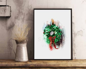 Christmas Wreath watercolor Illustration, Christmas Decor, Wall Art, 8x10 Art print, Dorm Room Decor Girl, Holiday Wreath Art