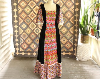 1970s peasant dress . patchwork cotton & black velvet maxi dress, boho hippie prairie dress with bell sleeves . APPROX womens small medium