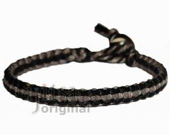 Black and charcoal flat cotton bracelet or anklet
