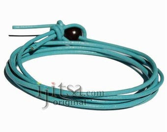 2mm sky blue leather adjustable surf wrap bracelet