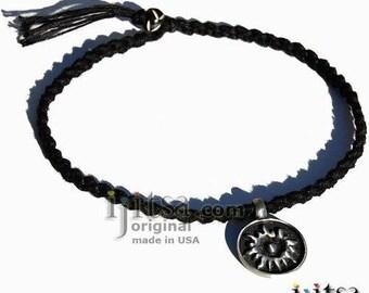 Soft Black Hemp Chain Choker/Necklace and pewter Sun pendant