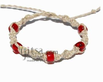 Natural twisted hemp bracelet or anklet with red glass beads