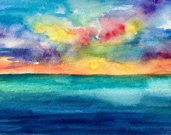 Sunset Beach Original watercolor