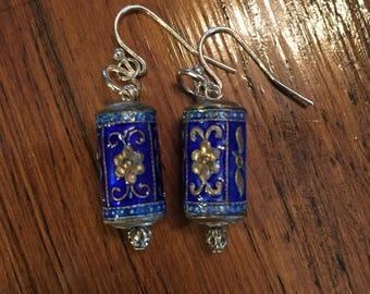 Old Asian Style Tin Bead Earrings