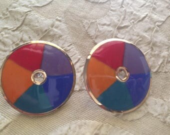 Laurel Burch Post Earrings MEDINA Cloisonné Rainbow Art Jewelry Vintage Piece Signed Teal  Blue Purple Red Gold