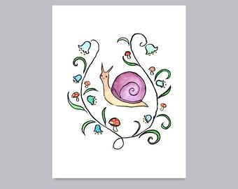 Woodland Snail Print