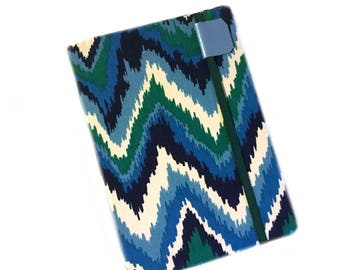 Kindle Paperwhite cover - Forest and Sky ikat chevron kindle cover - fits Touch - hardcover eReader case - green and blue - unisex tech