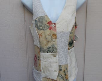 90s PATCHWORK Vest by Mirrors / Vintage boho shabby chic crazy quilt long torso waistcoat // Size Sml - Med