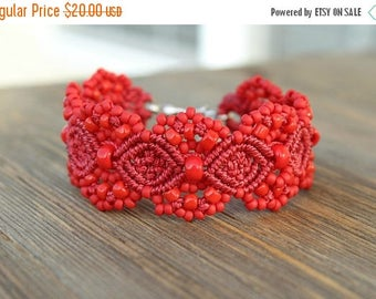 SUMMER SALE Micro-Macrame Beaded Cuff Bracelet - Red
