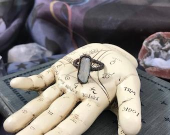 Electroformed Biwa Pearl Boho Statement Ring |  Sz 7.5 Ring | Gift For Her