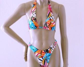 80s 90s Brazilian Bikini Bottom and Sliding Halter Top in Fiji Floral Print in S-M-L-XL