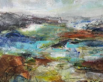 Mixed media contemporary abstract landscape painting small format art modern