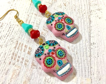 Pink Day of the Dead Sugar Skull with Painted Face Beaded Dangle Halloween Earrings with Surgical Steel Ear Wires