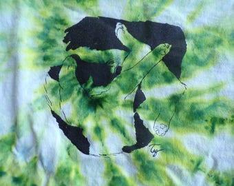 green tie dye funky cat t-shirt men's size XL
