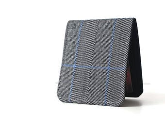 Mens Minimalist Wallet / Thin Bifold Wallet / Navy Blue Herringbone Wool