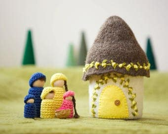 Doll house with family felted wool house wood peg dolls brown and yellow  ready to ship