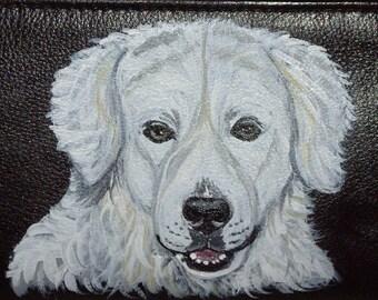 Kuvasz Dog Custom Hand Painted Leather Checkbook Cover Checkbook Holder
