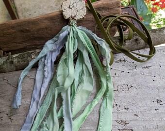 Mermaid Tail || Vintage Sari Silk Tassel | Long Tassel Necklace | White Turquoise Stone | Earthy | Organic | Boho | Hippie | Mermaid | Zen
