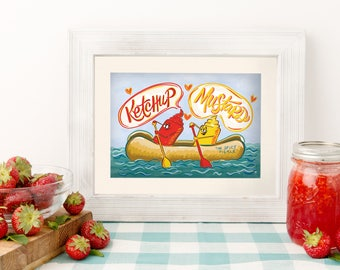 Ketchup and Mustard 5x7 Kitchen Print - funny home - hot dog art - ketchup mustard theme - best friend gift - i love ketchup - funny art