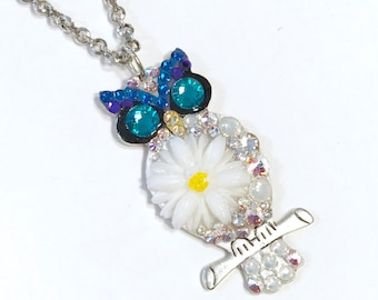 Owl Necklace Jewelry Colorful and Fun and Eclectic Crystal and Flower Collage