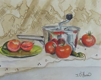 Antique juicer and tomato still life watercolor painting 8 x 10