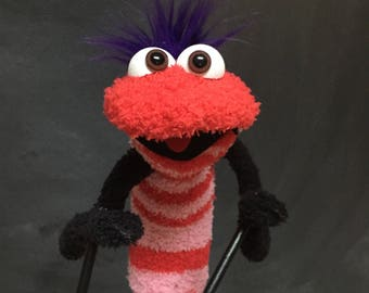 Sock Puppet Creature, Hand and Rod Puppet, Stretchy, One size, Red and Pink Stripes, Purple Hair, Brown Eyes, Arm Rods
