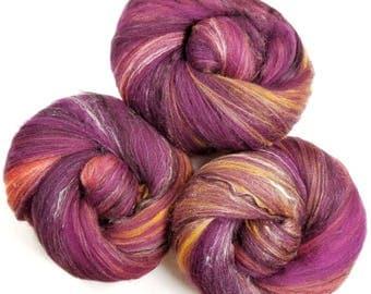Red Velvet -- classic batts -- (4 oz.) organic polwarth wool, bamboo, silk, sparkle.