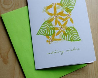Wedding Cards - Wedding Wishes - Yellow Flowers - Tropical Wedding Card - Hand Printed Greeting Card - Mosaic Note Series