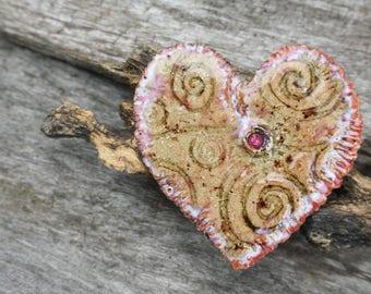 Handmade Ceramic Heart Cabochon
