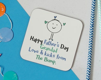 Happy Father's day Grandfather - love and kicks from the bump wooden coaster - from the bump - father's day gift - uk seller- Grandad