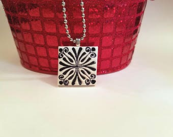 SALE Black and White Abstract Necklace, Contemporary Jewelry, Stamped Ink Pendant, handmade polymer clay