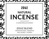 Frankincense / Myrrh / Bay Laurel / Benzoin - Natural hand rolled incense cones / ZOUZ blend