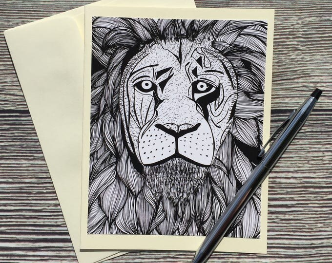 Featured listing image: Elliott Lion Original Ink Drawing Print - Ivory Note Card
