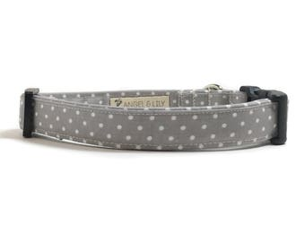 Dog Collar - Gray and White Dots - White Swiss Dots - Polka Dot Dog Collar - Gray Dog Collar - Fabric Dog Collar - Dotted Dog Collar