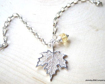 Silver Leaf Bracelet, Citrine Charm Dangle, Sterling Silver, Autumn Inspired, Thick Cable Chain, Dainty Nature Jewelry, Unique Gift for Her