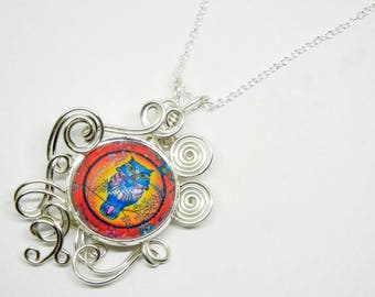 Owl Pendant - Wire Wrap Art Deco Owl Wire Wrapped Pendant Jewelry with 22 inch Sterling Silver Necklace