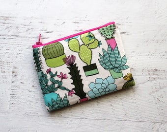 Cactus lovers gift - essential oils bag - small change purse - zipper pouch - cactus gifts - gift ideas for sister - cactus bag