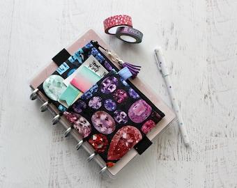 Rainbow jewels print pen pouch - franken planner accessories - personal sized planner pouch - mini planner cover - bullet journal bag