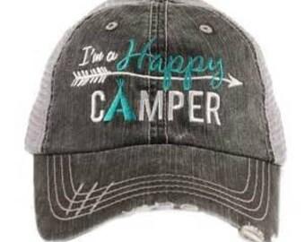 I'm a Happy Camper Cap Black Frayed Mesh Back